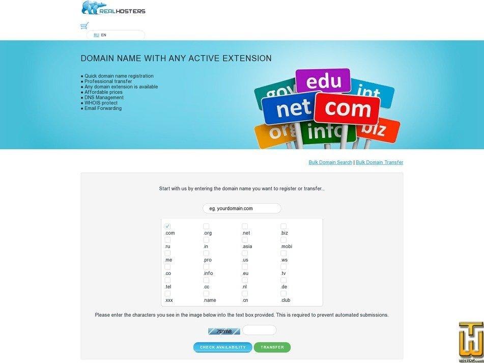 Screenshot of .com from realhosters.com