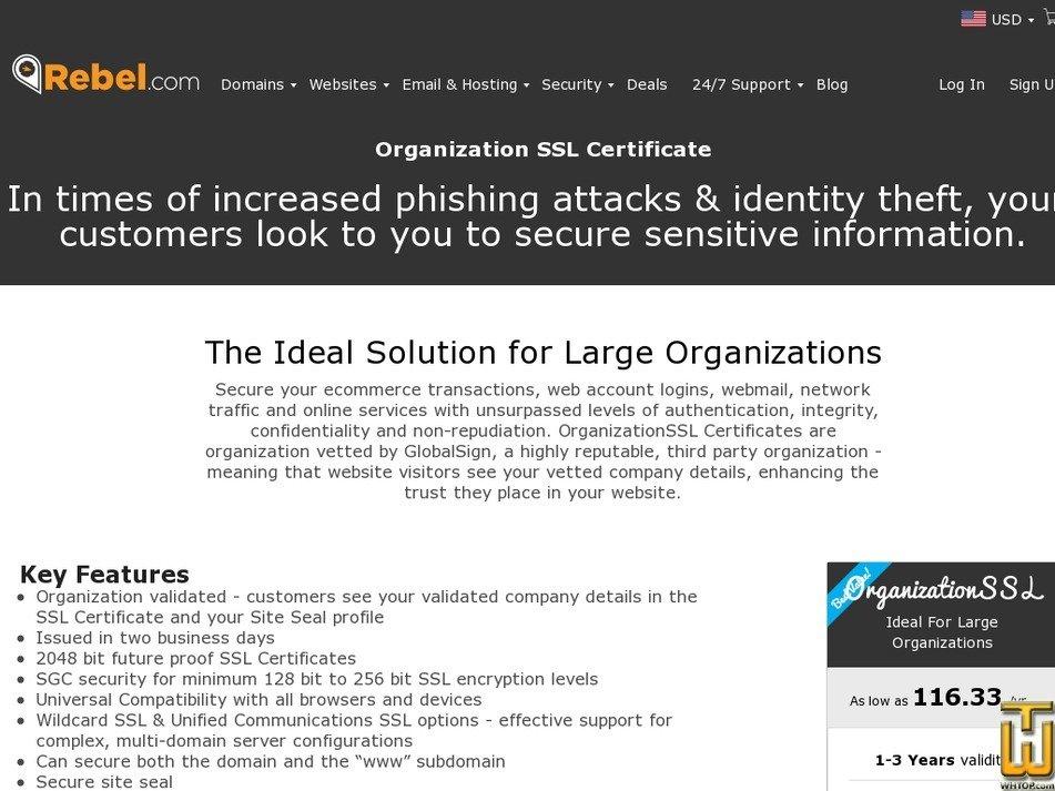 Screenshot of OrganizationSSL from rebel.com