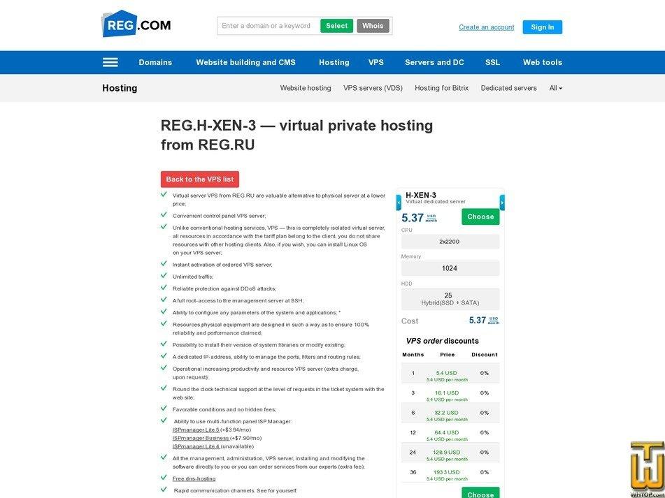 screenshot of H-XEN-3 from reg.ru