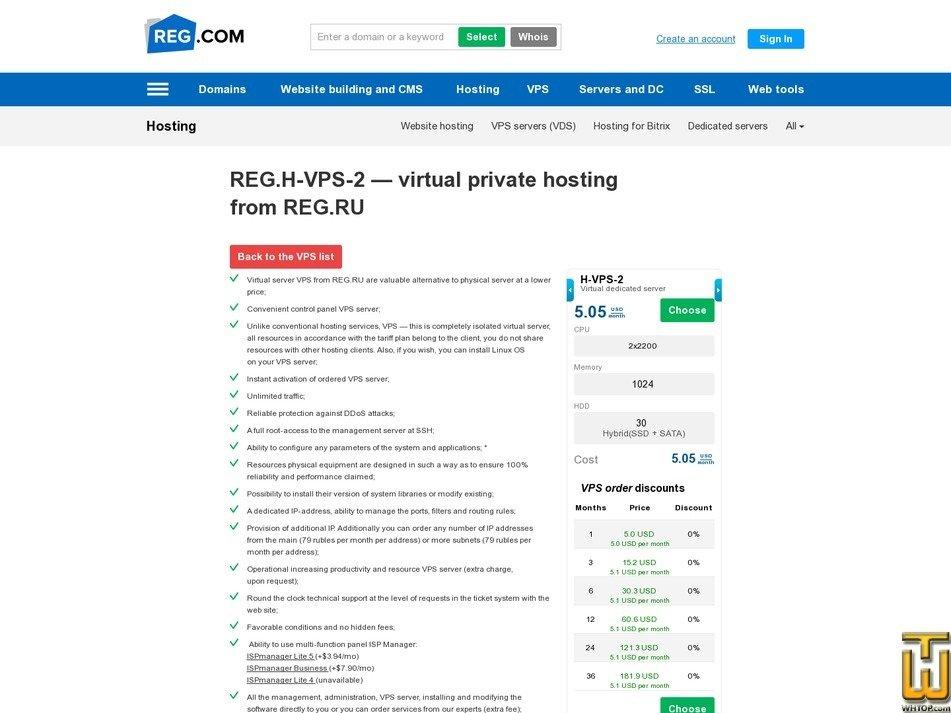 screenshot of H-VPS-2 from reg.ru