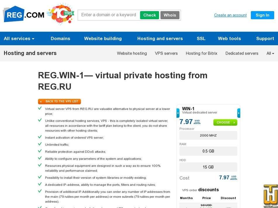 Screenshot of XEN Win 1 from reg.ru