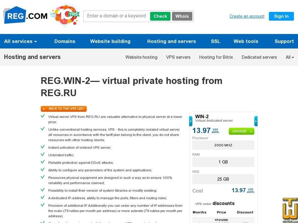 Screenshot of XEN Win 2 from reg.ru