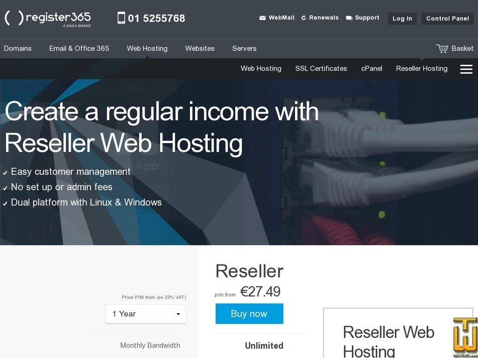 screenshot of Reseller Web Hosting from register365.com