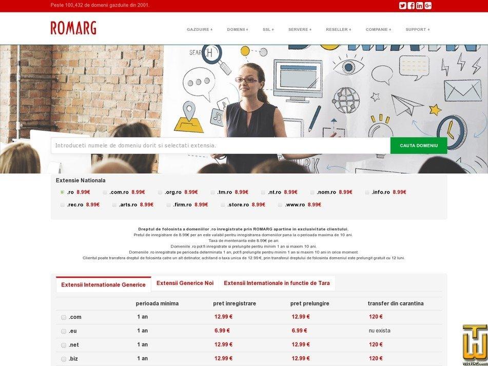 screenshot of .com .net .info .biz .name from romarg.ro