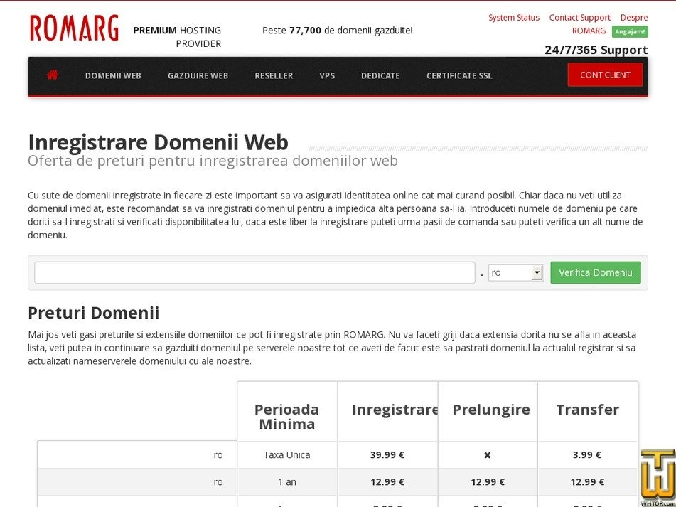screenshot of .com .net .info .biz .name from romarg.ro