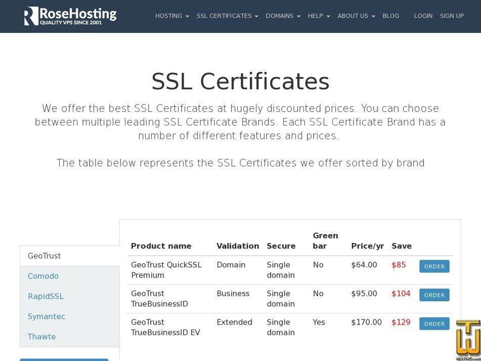 Comodo Essential Ssl From Rosehosting 39285 Usd 2900yr