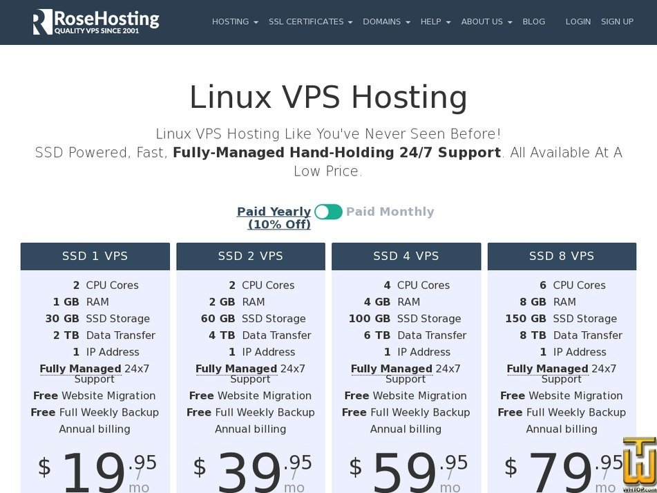 Ssd 1 Vps From Rosehosting Usd 1995mo On Vps Linux