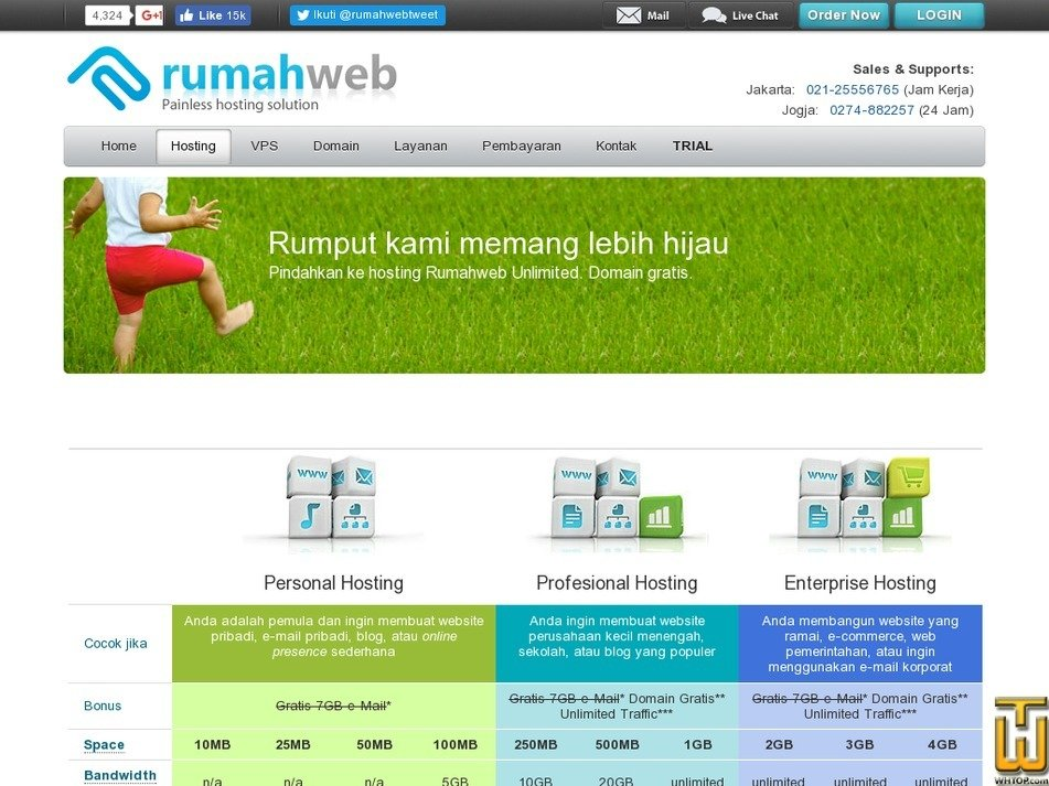 Screenshot of Personal 10MB from rumahweb.com
