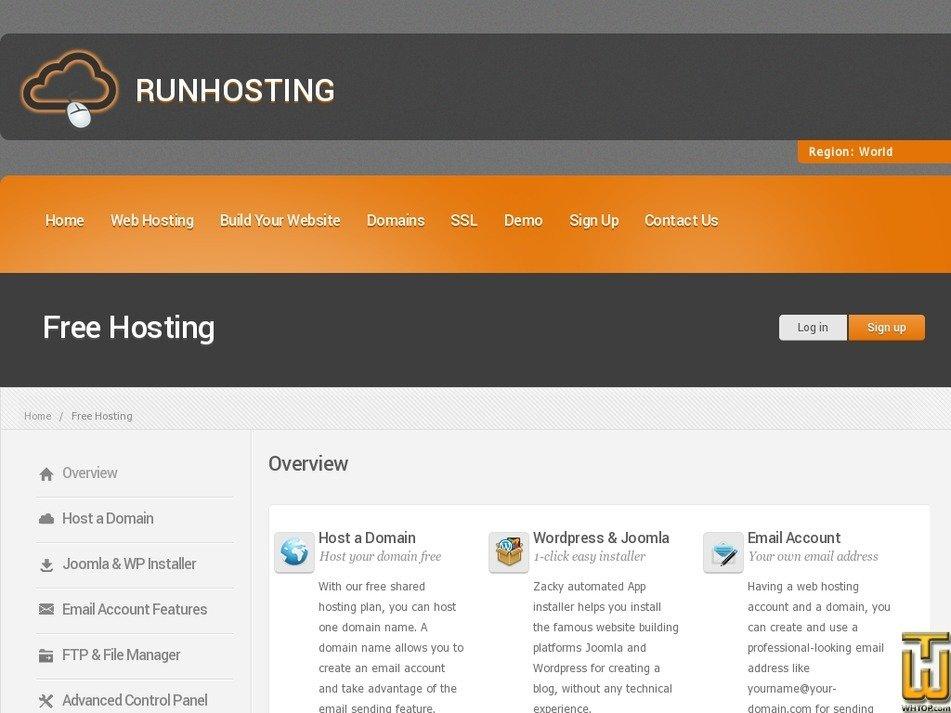 Screenshot of FREE Hosting Plan from runhosting.com