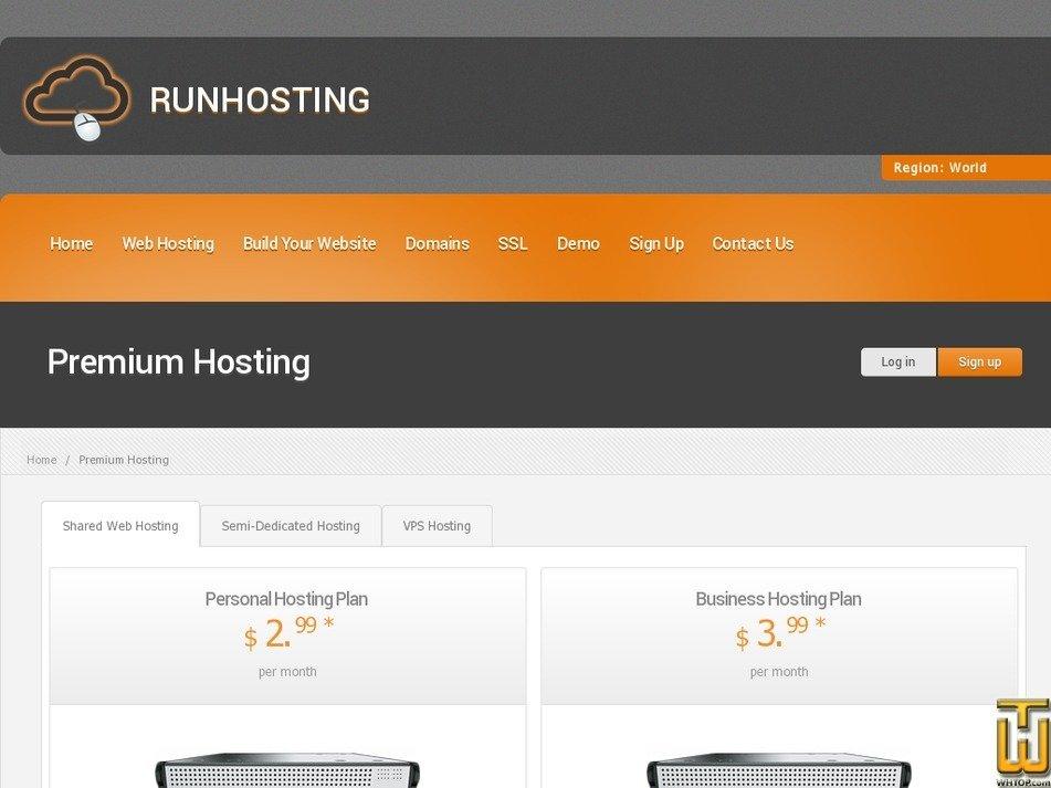 Screenshot of Business Hosting Plan from runhosting.com