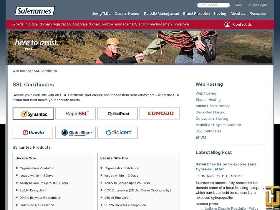 Screenshot of Alpha SSL from safenames.net
