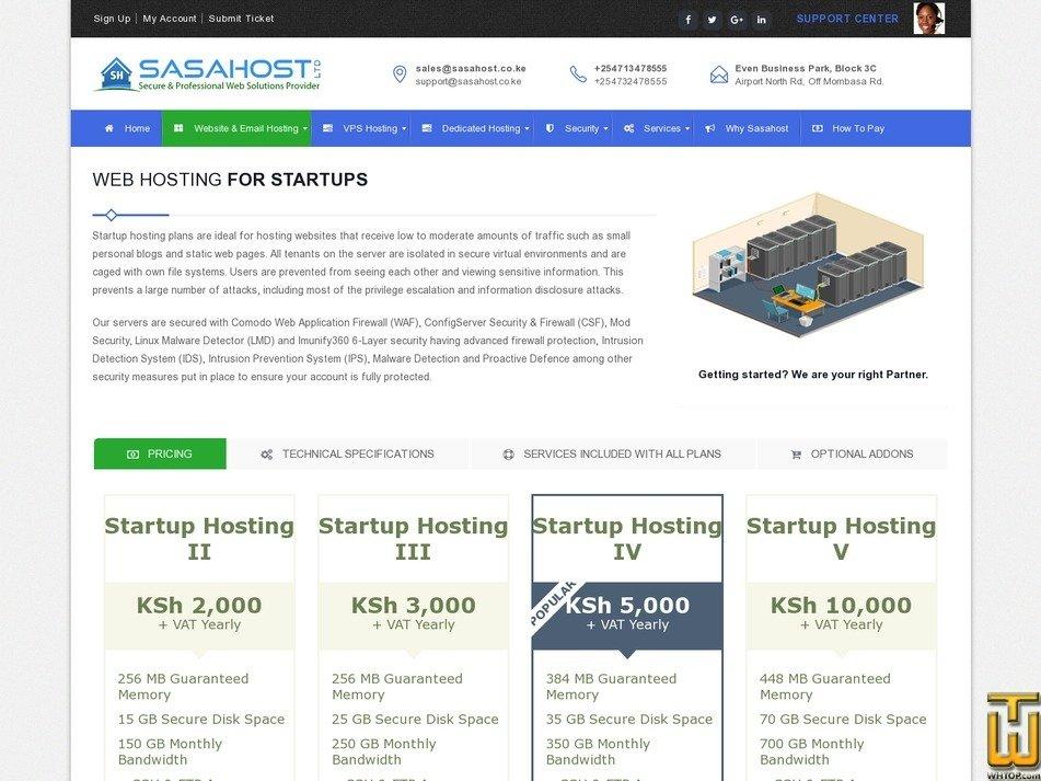 screenshot of Startup II from sasahost.co.ke