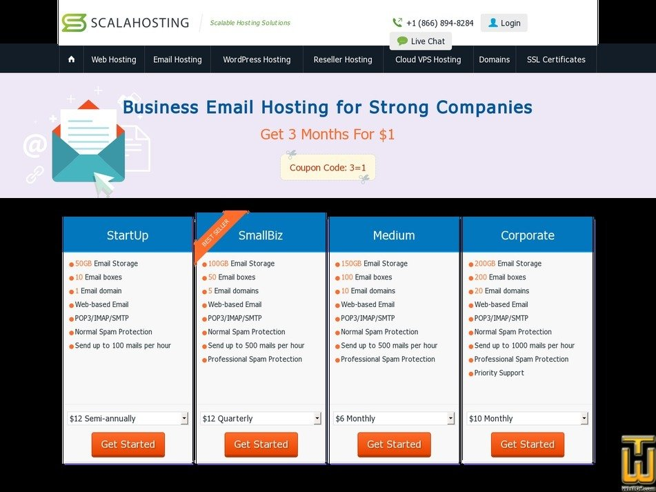 screenshot of StartUp from scalahosting.com