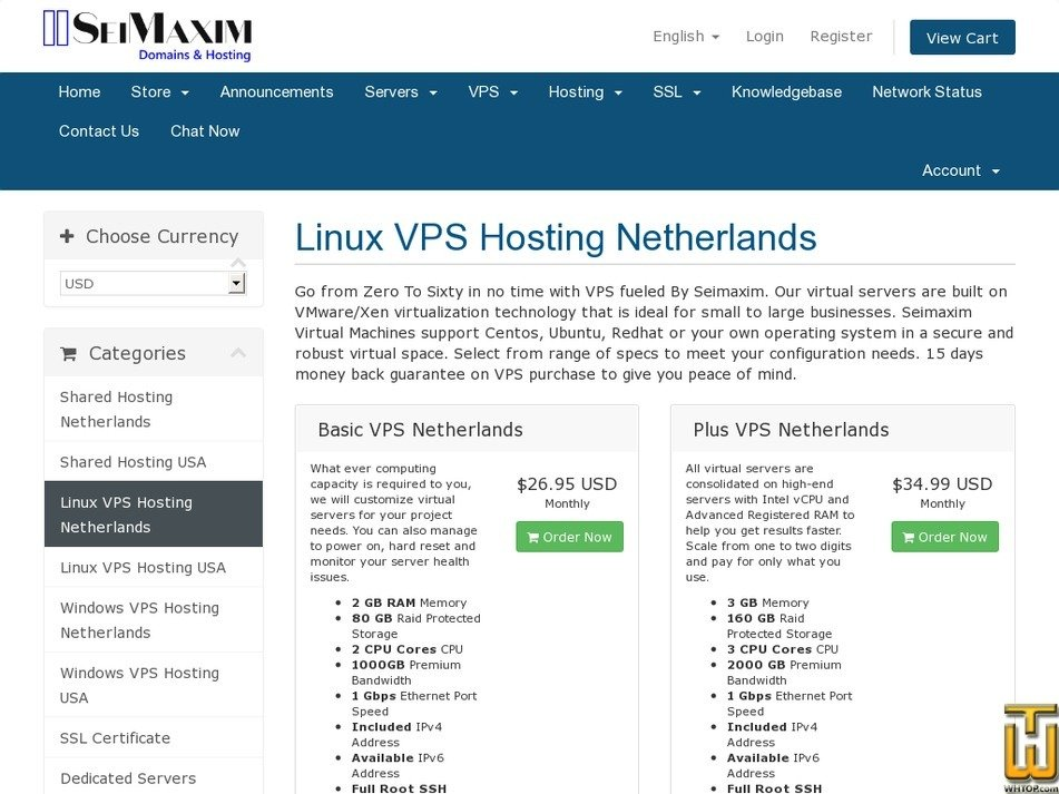 Screenshot of Basic VPS from seimaxim.com