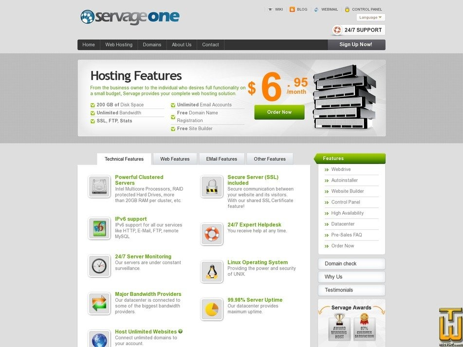 screenshot of Servage One Solution from servage.net