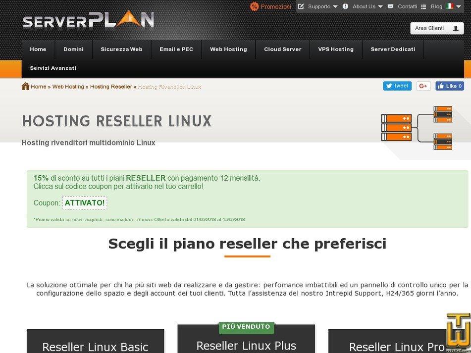 Bildschirmfoto von Reseller Linux Basic von serverplan.com