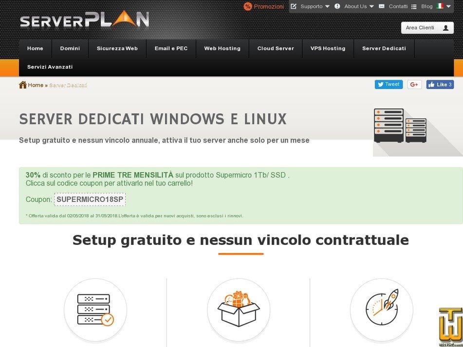Screenshot of Supermicro Intel E3-1231 from serverplan.com