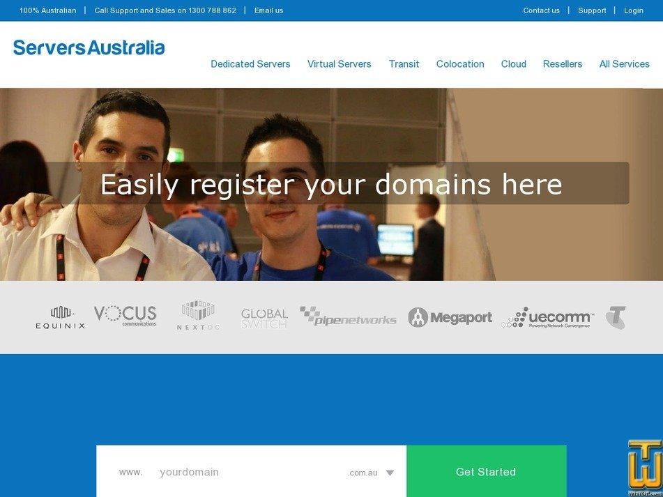 screenshot of .com from serversaustralia.com.au