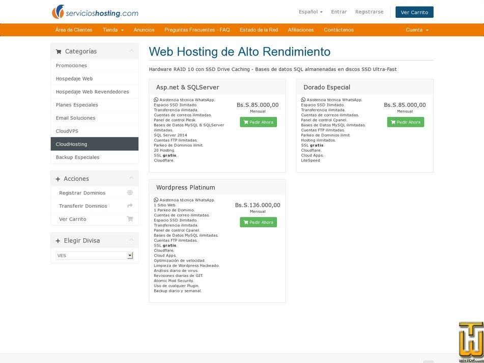 screenshot of Asp.net & SQLServer from servicioshosting.com
