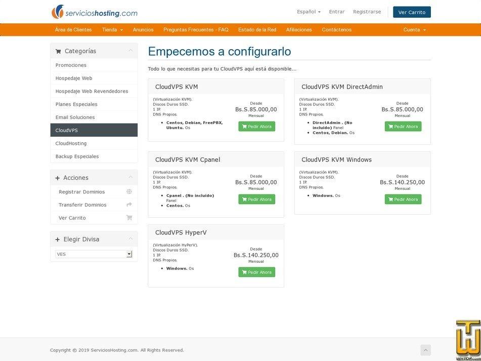 screenshot of CloudVPS HyperV from servicioshosting.com