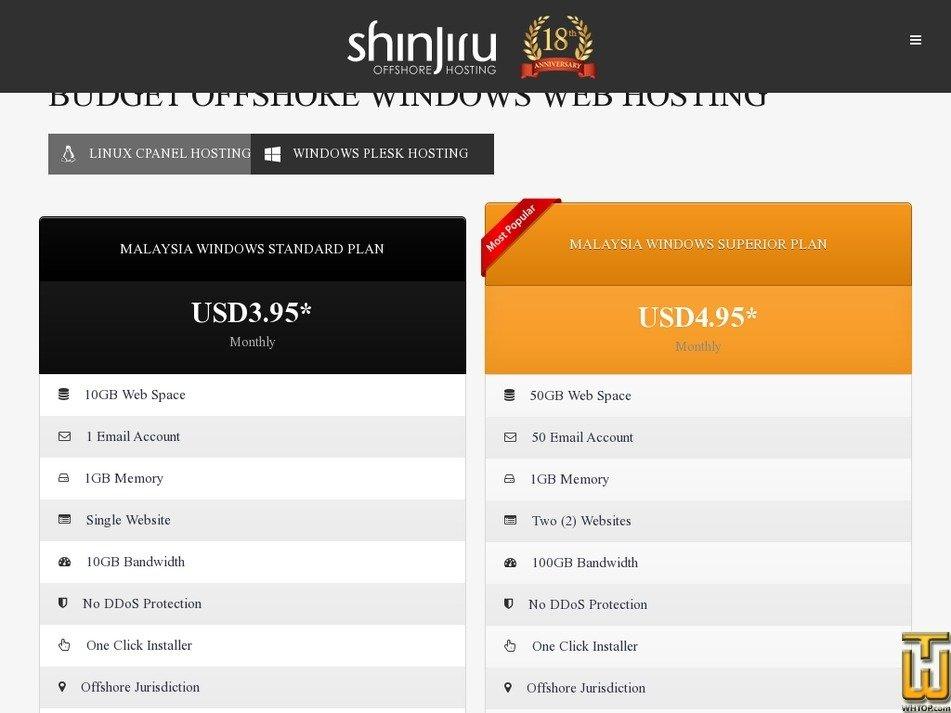 Screenshot of MALAYSIA WINDOWS STANDARD PLAN from shinjiru.com