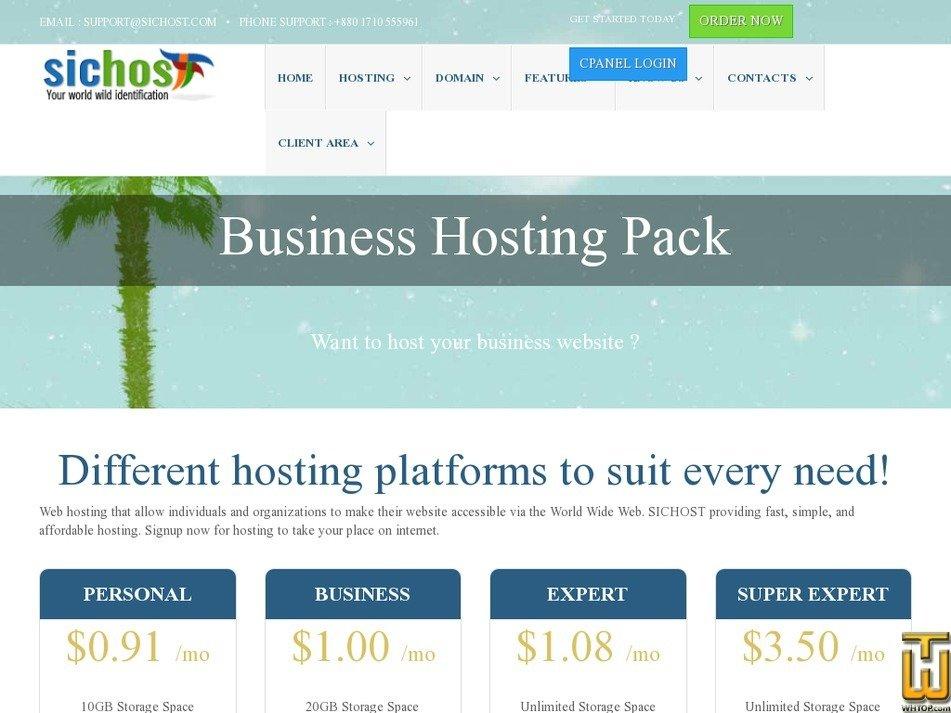 Screenshot of Business from sichost.com