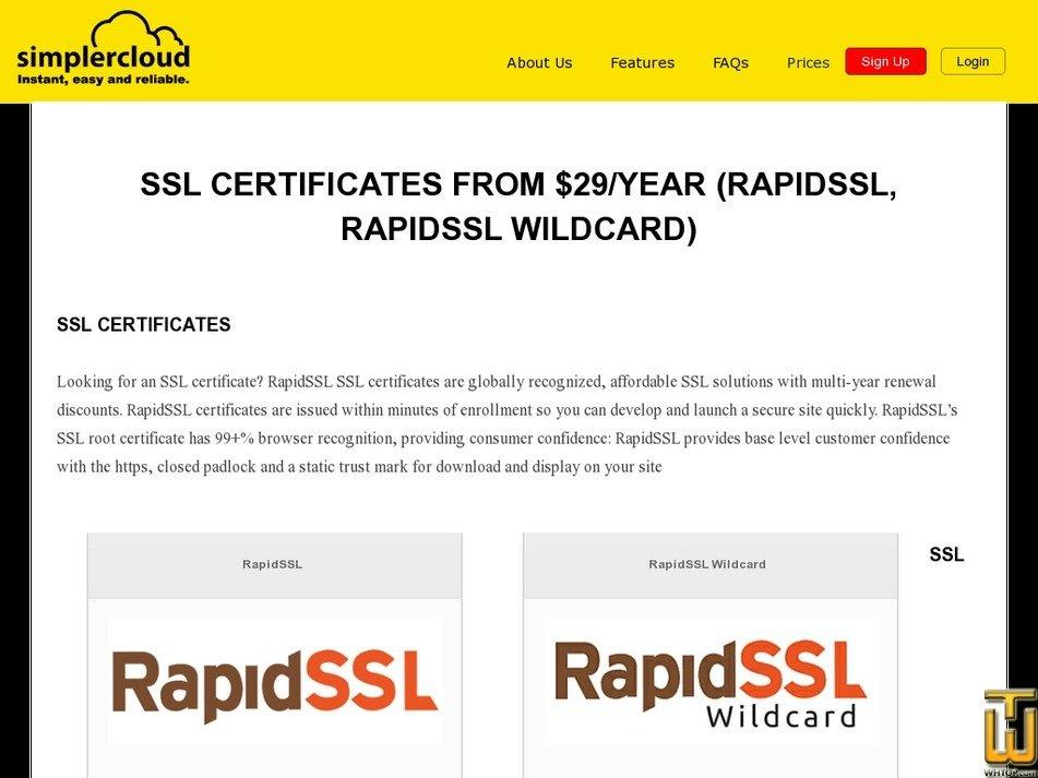 Rapidssl Simplercloud Usd 2900yr On Ssl Certificates