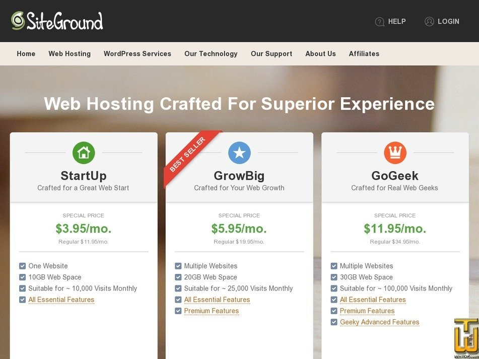 Screenshot of GoGeek from siteground.com
