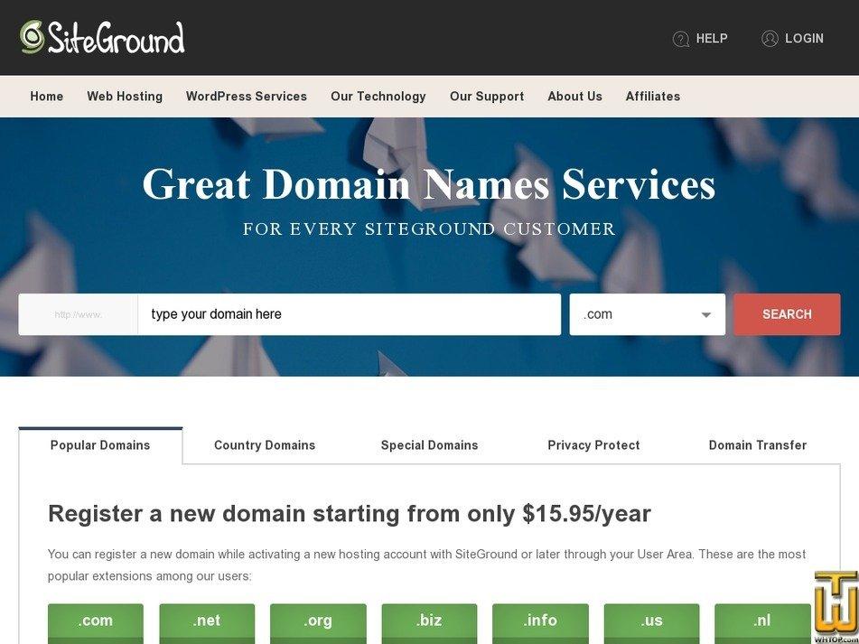 Screenshot of .COM from siteground.com