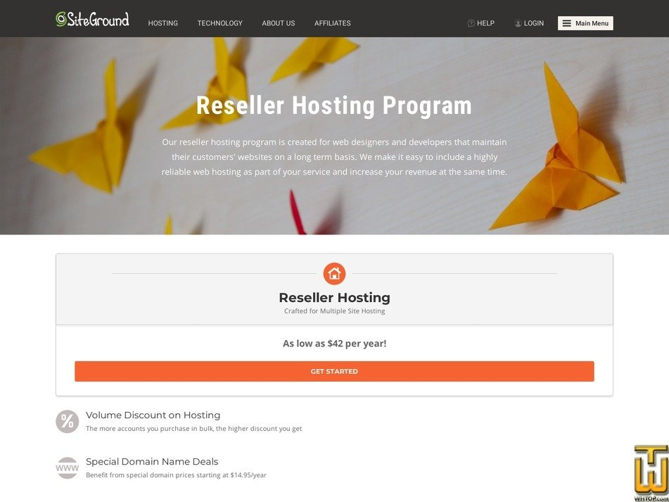 Screenshot of Reseller Program from siteground.com
