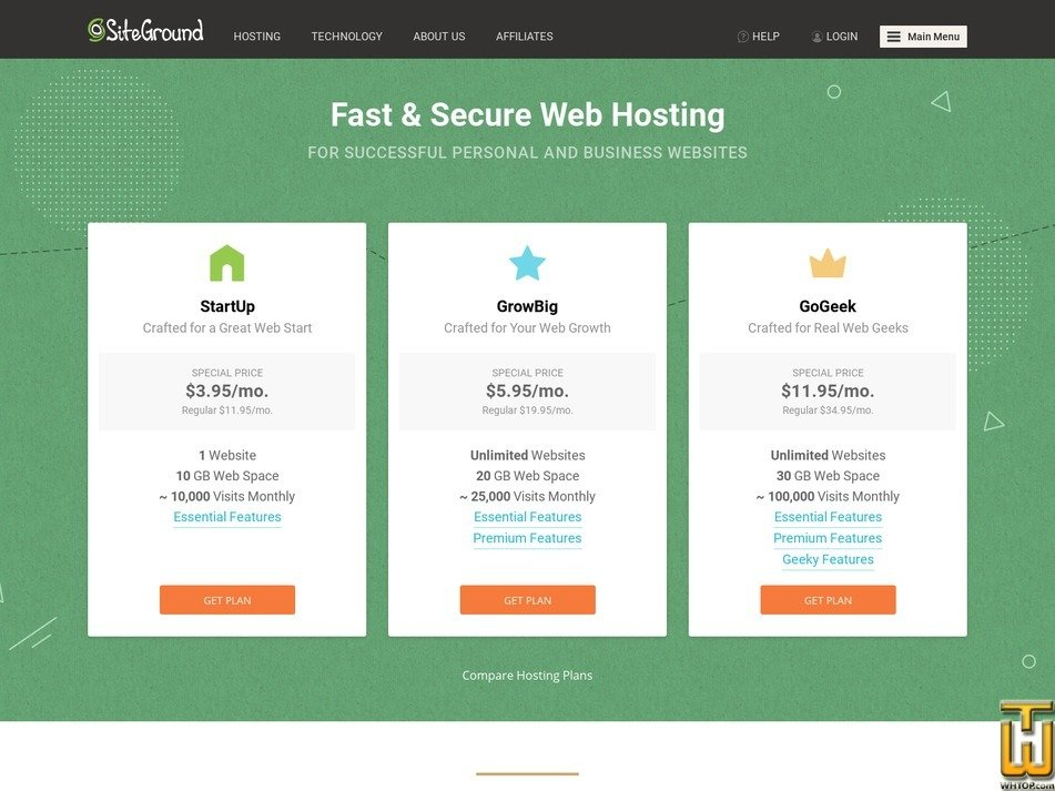screenshot of StartUp from siteground.com