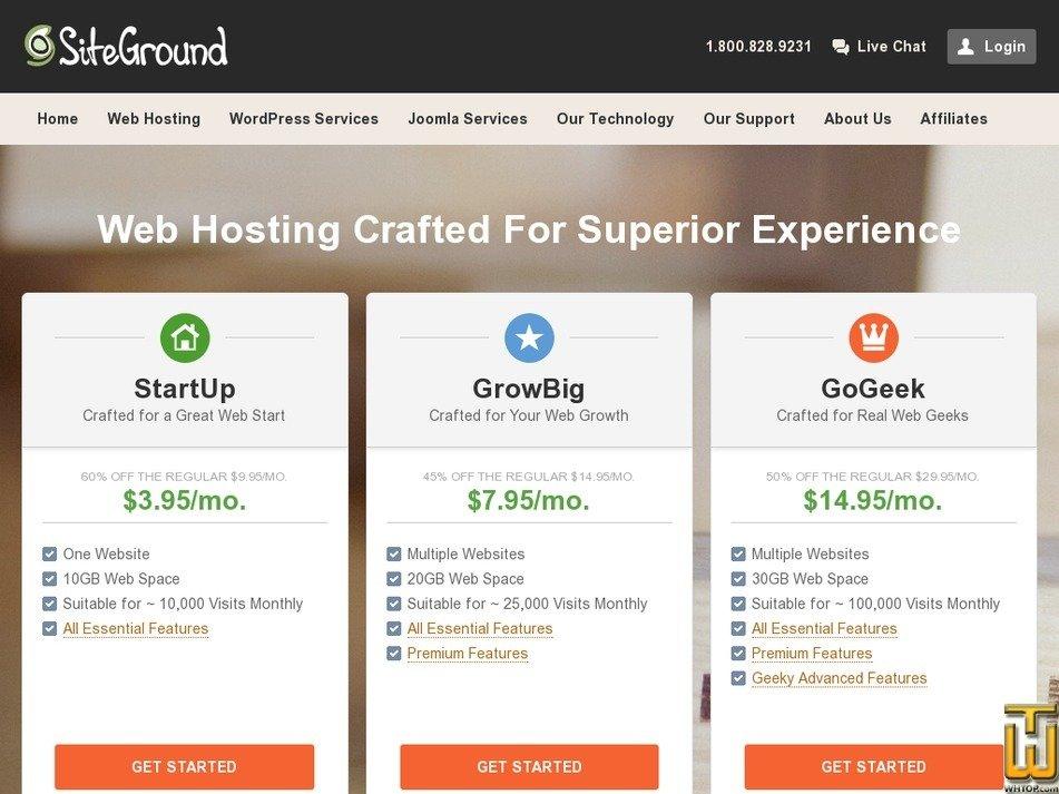 Screenshot of StartUp from siteground.com