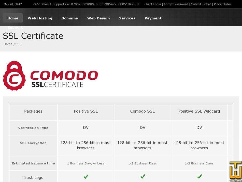 Screenshot of Positive SSL from smartweb.com.ng