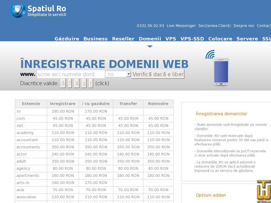 screenshot of .com from spatiul.ro