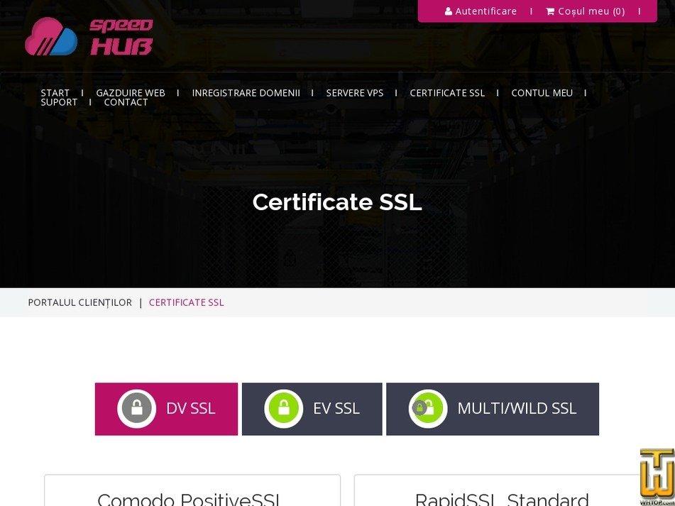 Screenshot of Comodo PositiveSSL Wildcard from speedhub.eu