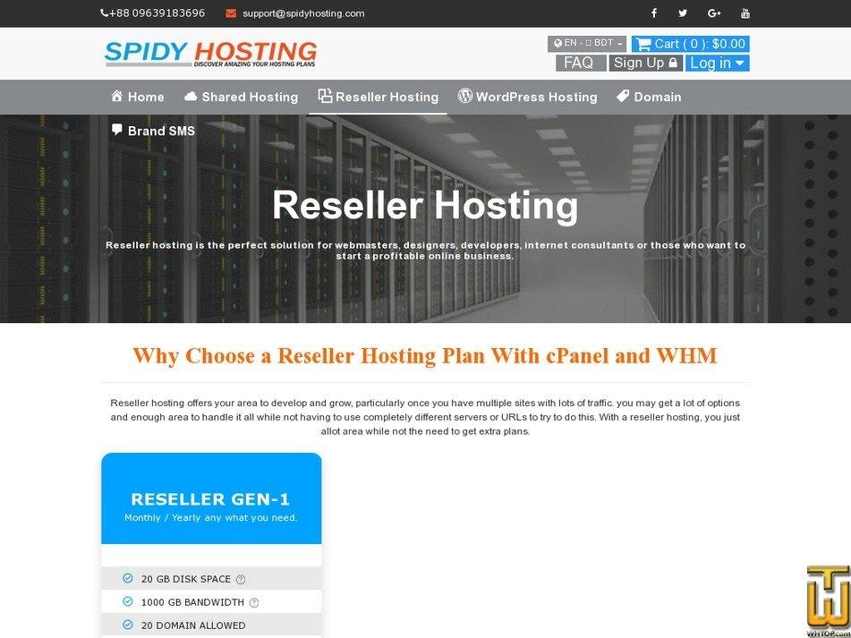 Screenshot of RESELLER GEN-1 from spidyhosting.com
