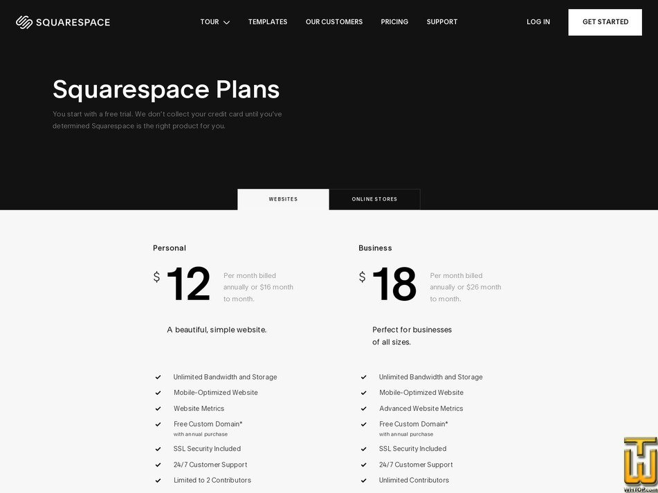 Screenshot of Personal from squarespace.com