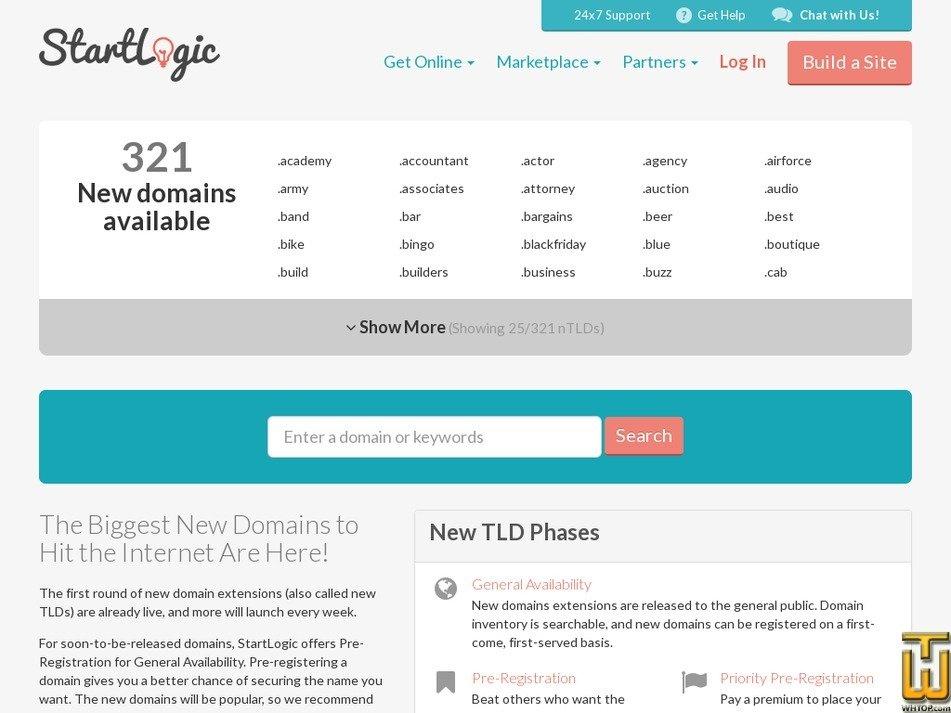 screenshot of .com from startlogic.com