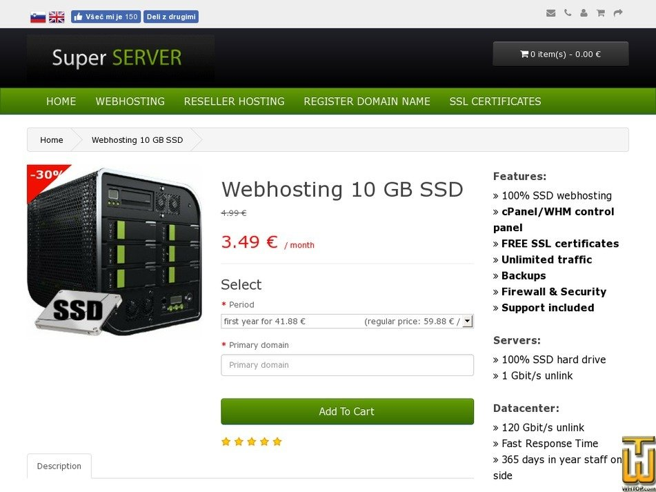 Screenshot of Webhosting 10 GB SSD from super-server.eu