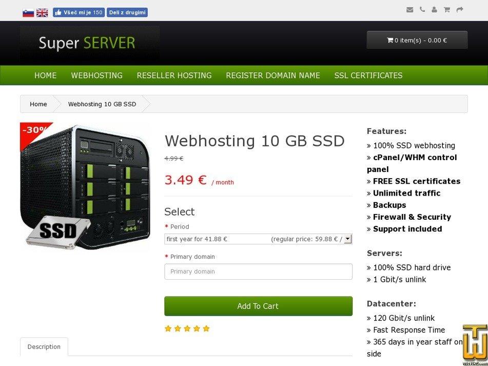 Screenshot of Webhosting 10 GB SSD from super-server.eu