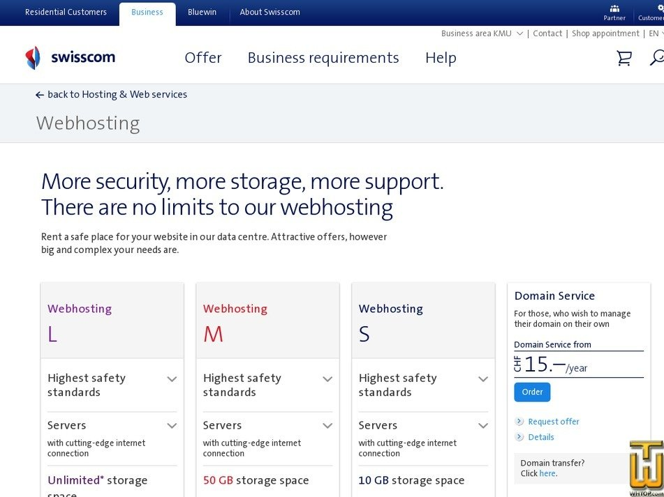 Screenshot of Webhosting L from swisscom.ch