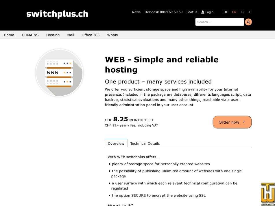 Bildschirmfoto von Web Hosting von switchplus.ch
