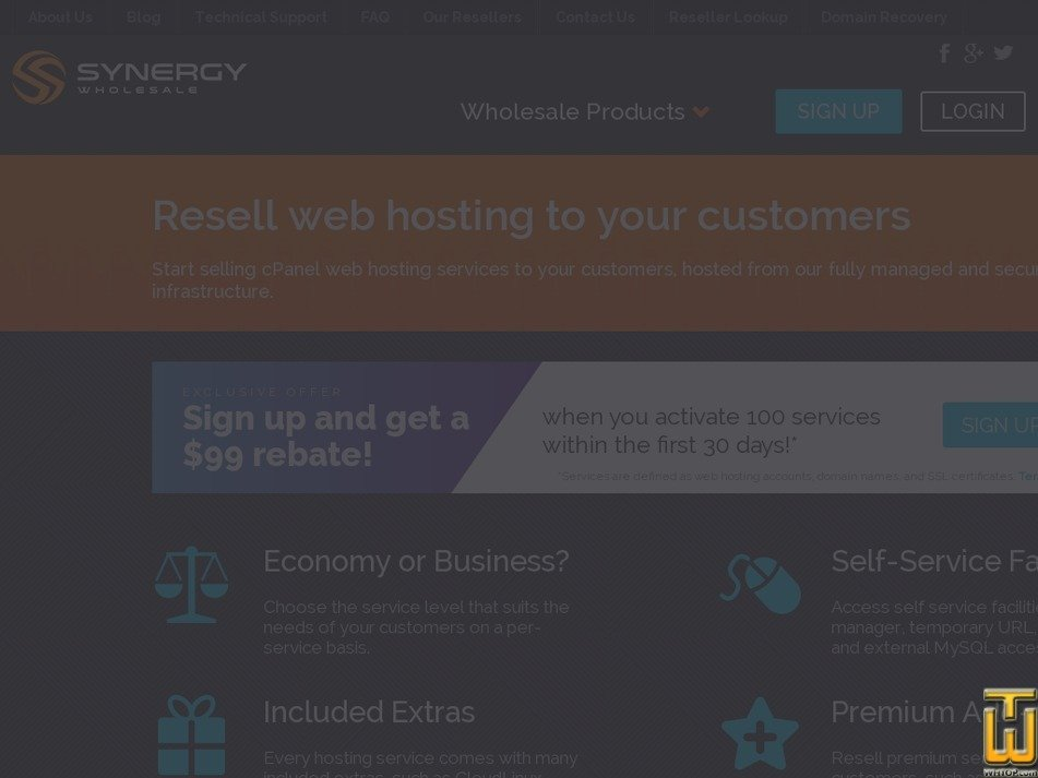 Screenshot of cPanel Reseller from synergywholesale.com