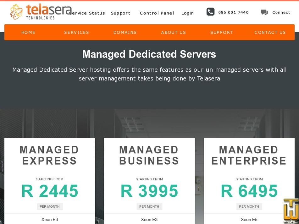 Screenshot of MANAGED DEDICATED EXPRESS from telasera.com
