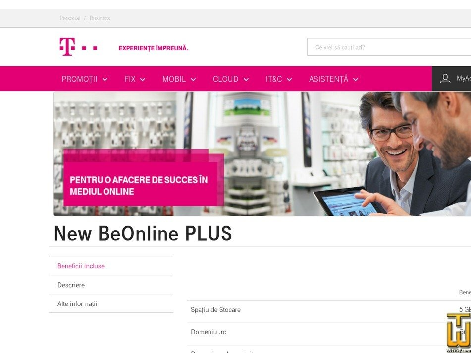 screenshot of New BeOnline PLUS from telekom.ro