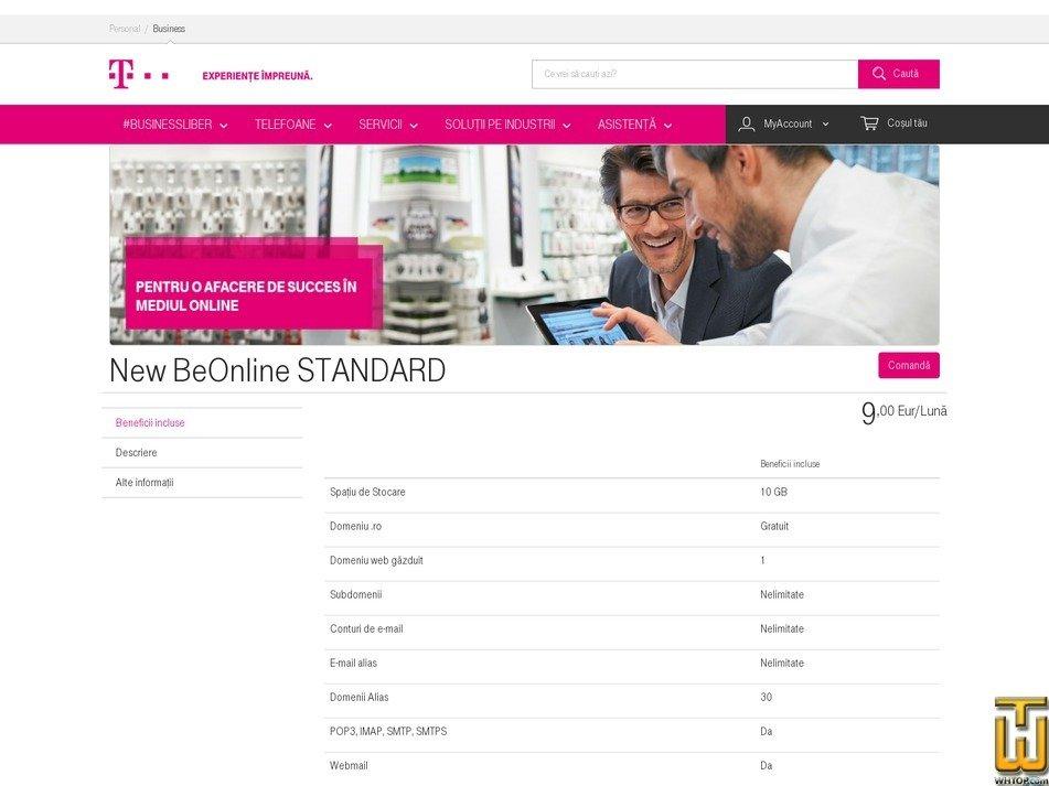 Screenshot of New BeOnline STANDARD from telekom.ro