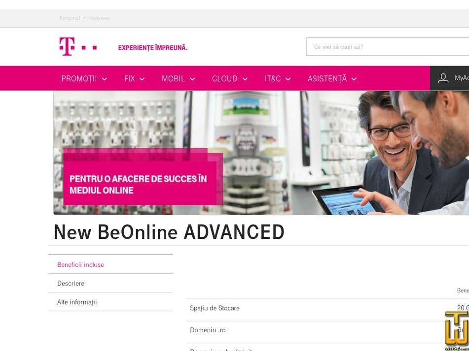 Screenshot of New BeOnline ADVANCED from telekom.ro