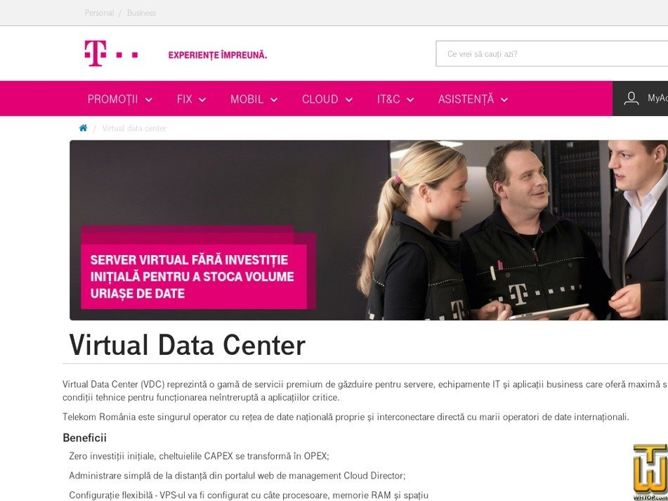 Screenshot of Virtual Data Center from telekom.ro