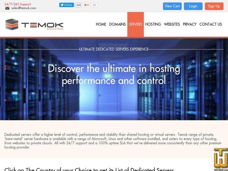 Screenshot of USA Dedicated Servers Plan 1 from temok.com