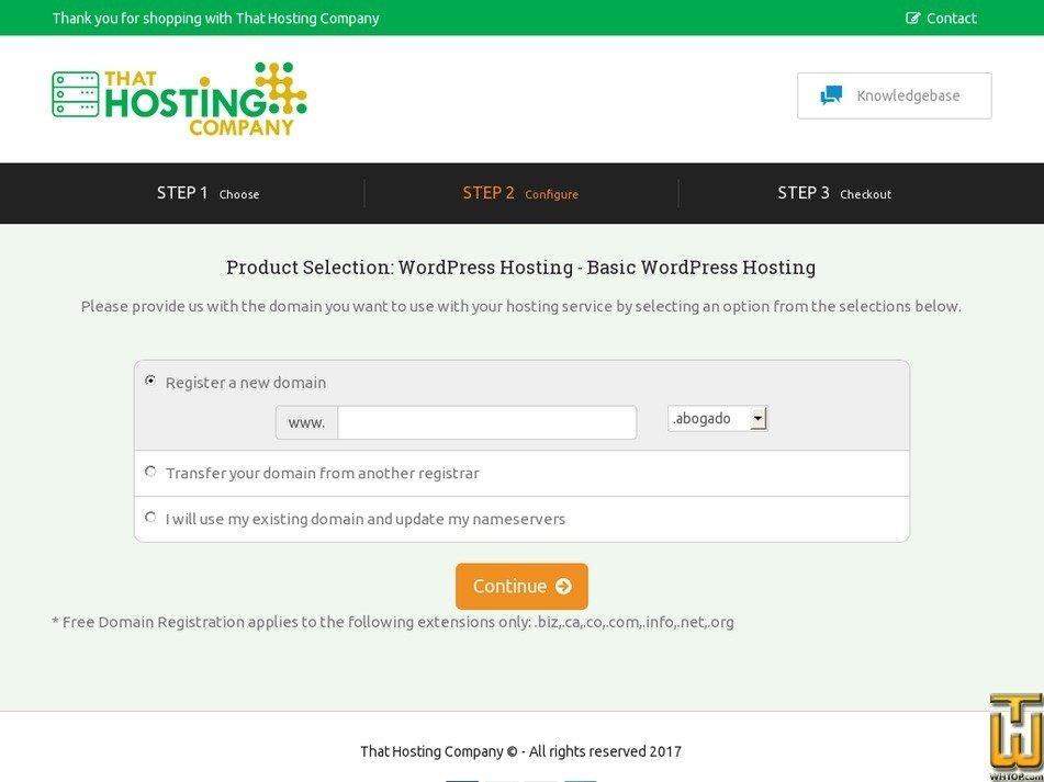 Screenshot of Basic Managed WordPress from thathost.ca